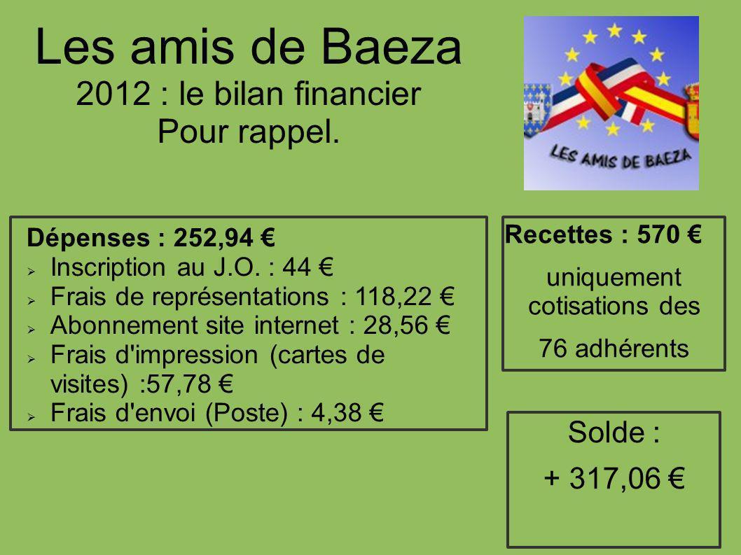Les amis de Baeza 2012 : le bilan financier Pour rappel.