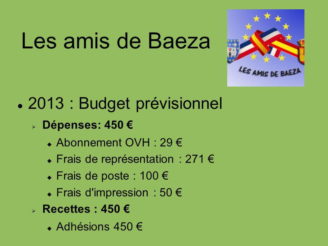 Les amis de Baeza 2013 : Budget prévisionnel Dépenses: 450 €