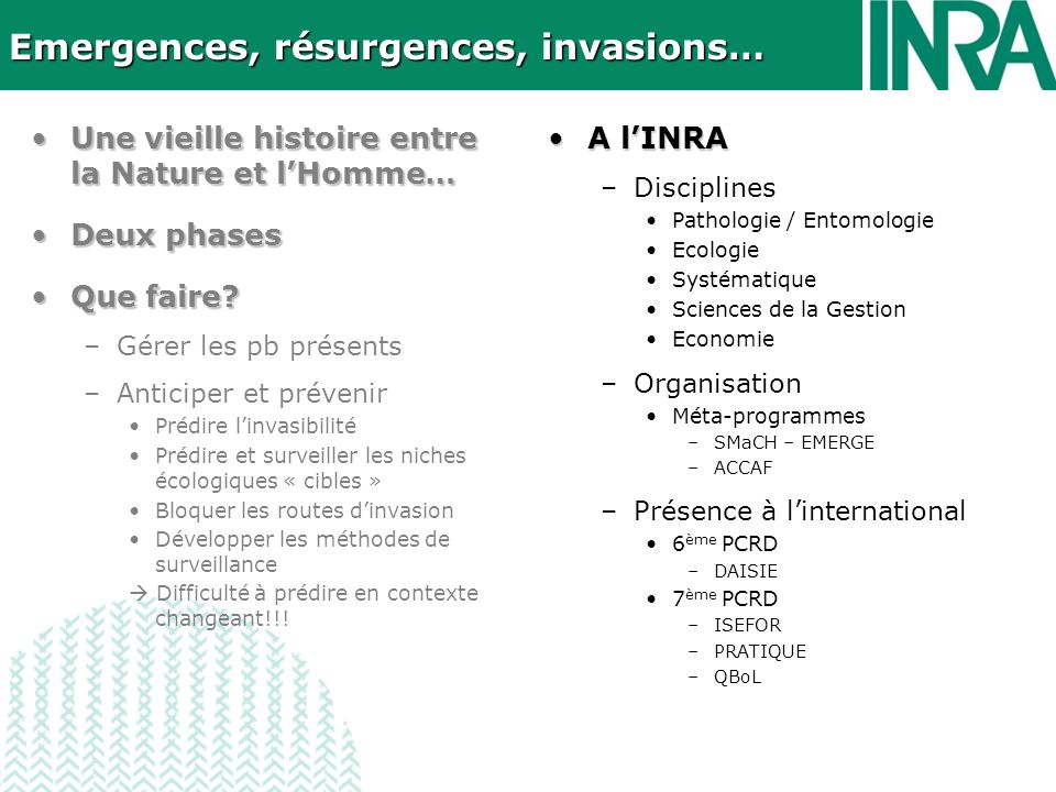Emergences, résurgences, invasions…