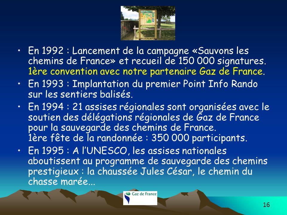 En 1992 : Lancement de la campagne «Sauvons les chemins de France» et recueil de 150 000 signatures. 1ère convention avec notre partenaire Gaz de France.