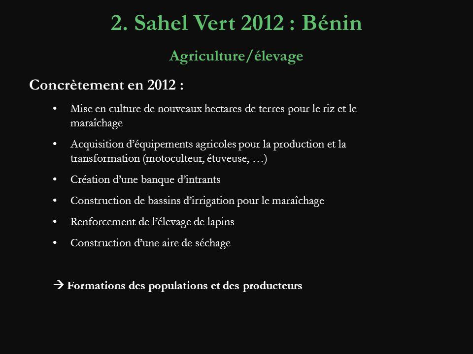 2. Sahel Vert 2012 : Bénin Agriculture/élevage Concrètement en 2012 :