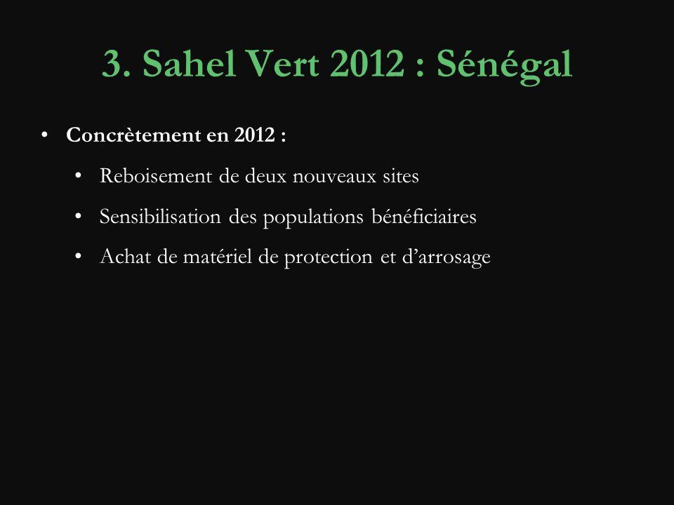3. Sahel Vert 2012 : Sénégal Concrètement en 2012 :
