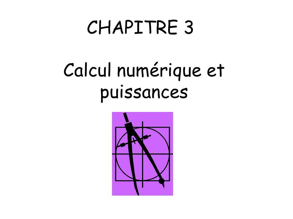 CHAPITRE 3 Calcul numérique et puissances