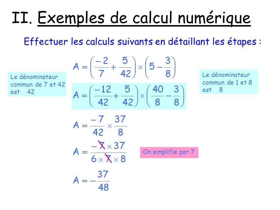 II. Exemples de calcul numérique