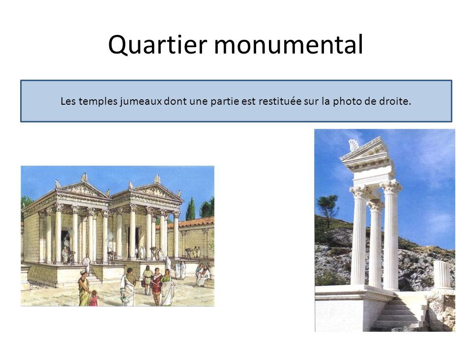 Quartier monumental Les temples jumeaux dont une partie est restituée sur la photo de droite.