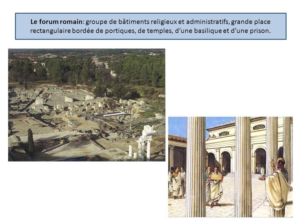 Le forum romain: groupe de bâtiments religieux et administratifs, grande place rectangulaire bordée de portiques, de temples, d'une basilique et d'une prison.