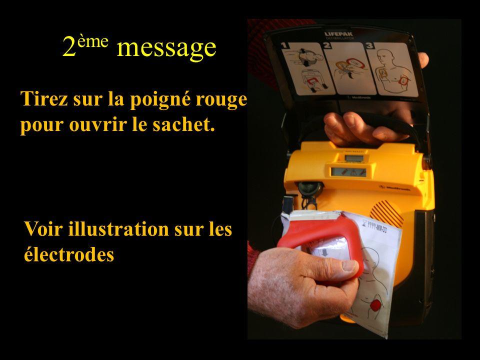 2ème message Tirez sur la poigné rouge pour ouvrir le sachet.