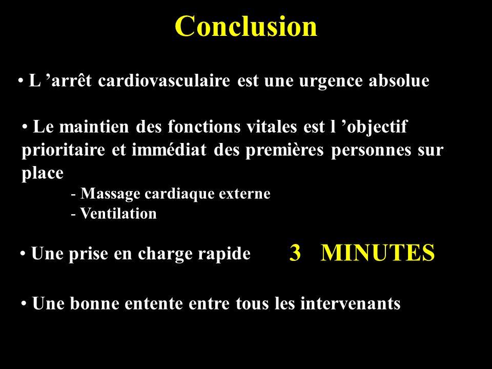 Conclusion 3 MINUTES L 'arrêt cardiovasculaire est une urgence absolue