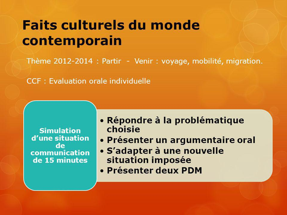 Faits culturels du monde contemporain