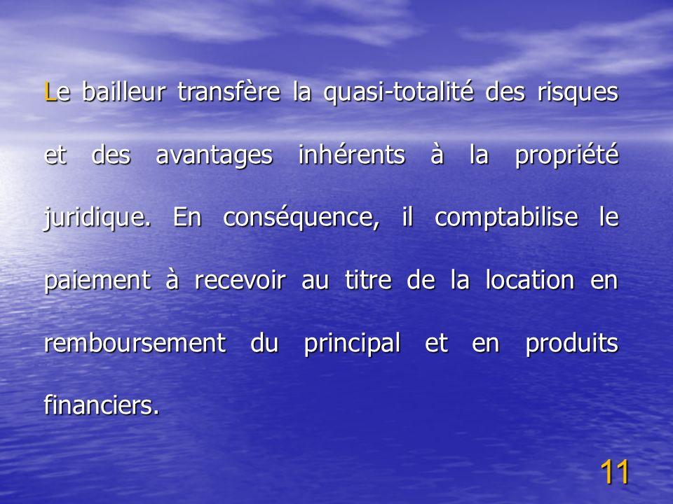 Le bailleur transfère la quasi-totalité des risques et des avantages inhérents à la propriété juridique.