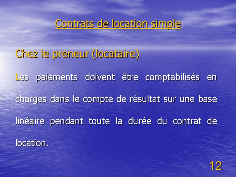 Contrats de location simple