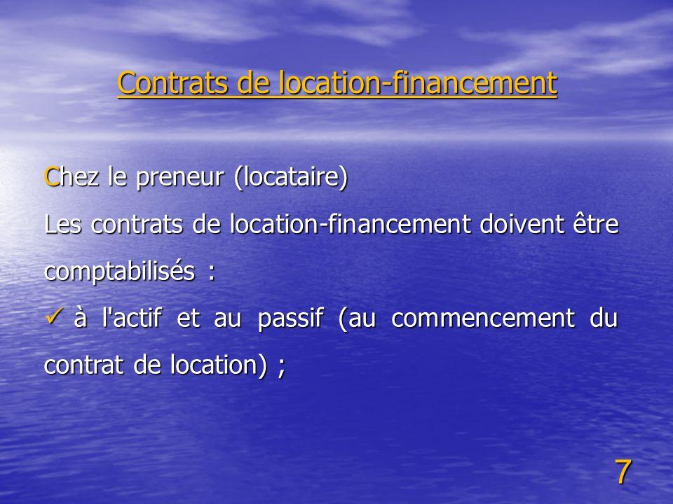 Contrats de location-financement