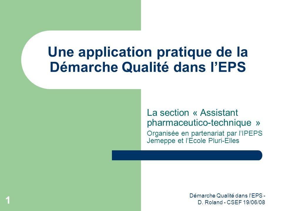 Une application pratique de la Démarche Qualité dans l'EPS