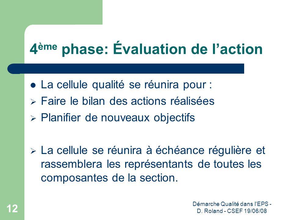 4ème phase: Évaluation de l'action