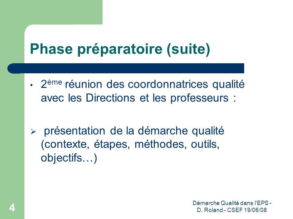 Phase préparatoire (suite)