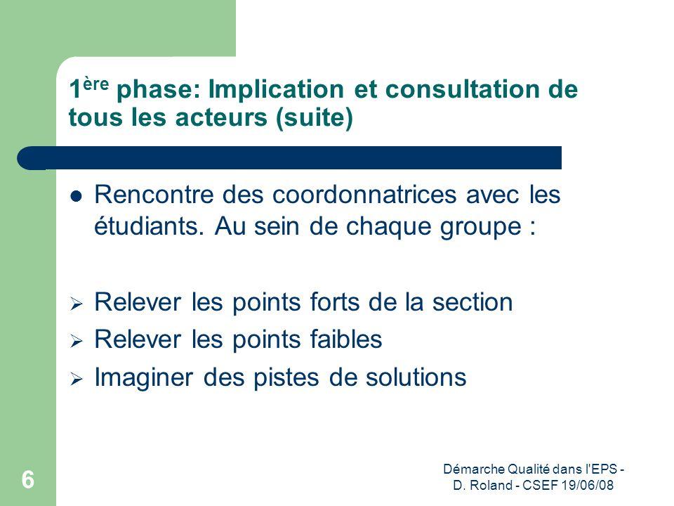 1ère phase: Implication et consultation de tous les acteurs (suite)