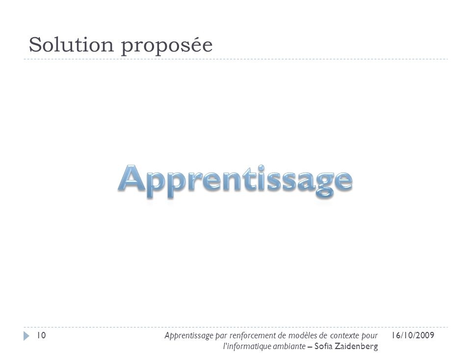 Apprentissage Solution proposée