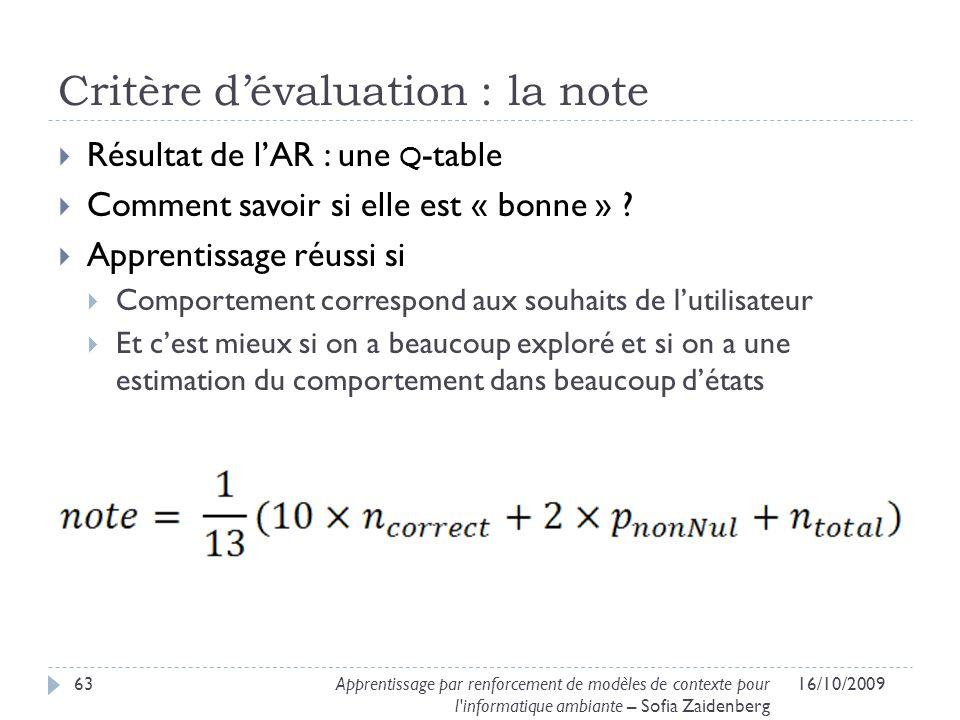Critère d'évaluation : la note