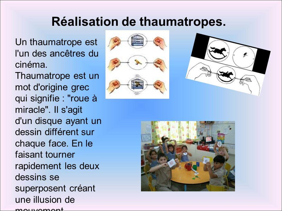 Réalisation de thaumatropes.
