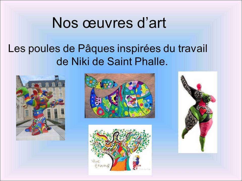 Les poules de Pâques inspirées du travail de Niki de Saint Phalle.