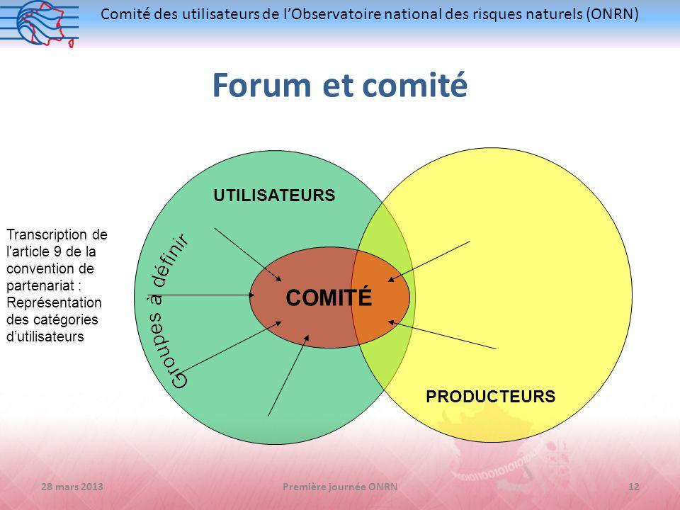 Forum et comité COMITÉ UTILISATEURS PRODUCTEURS