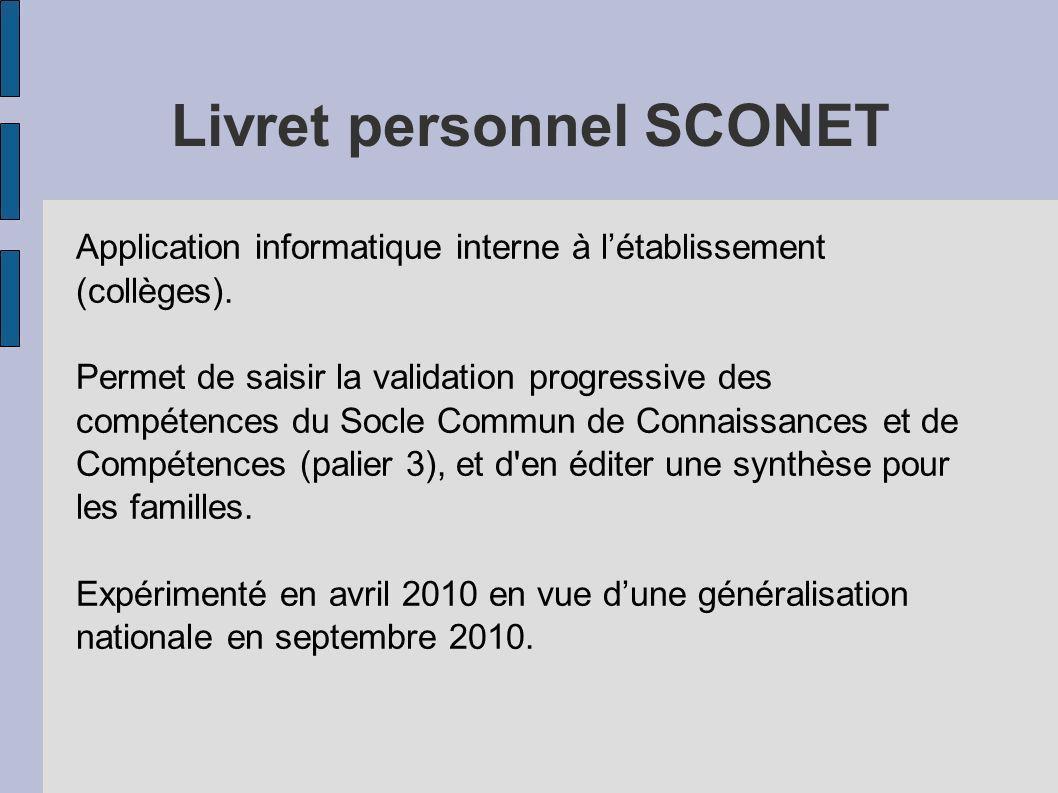Livret personnel SCONET