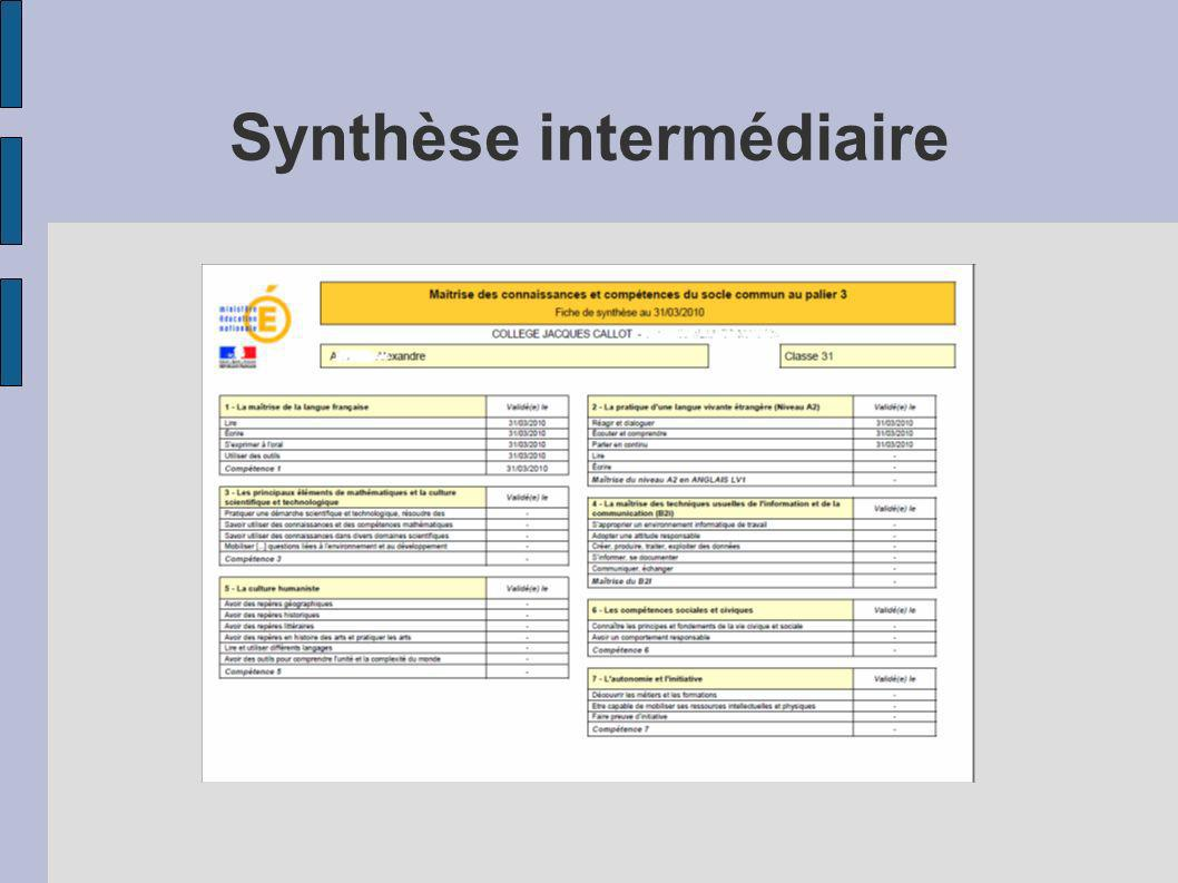 Synthèse intermédiaire