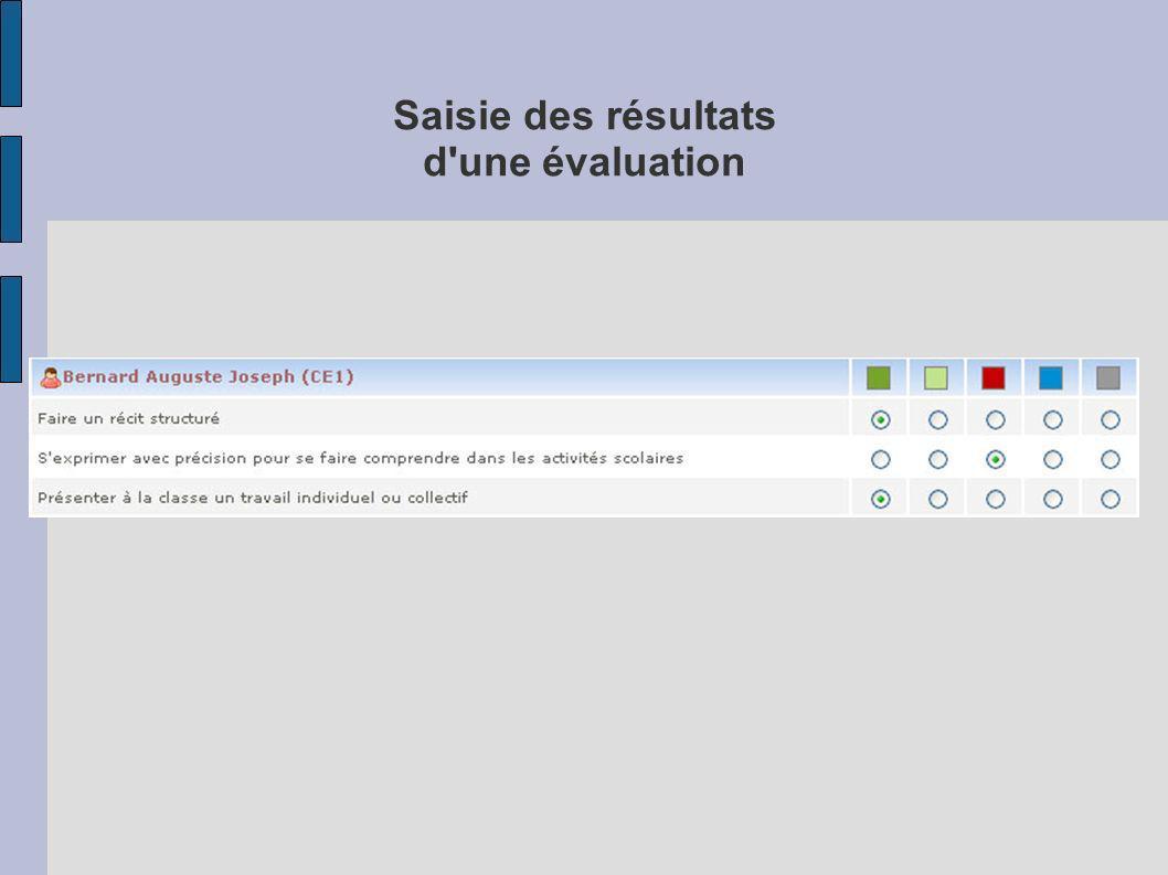 Saisie des résultats d une évaluation