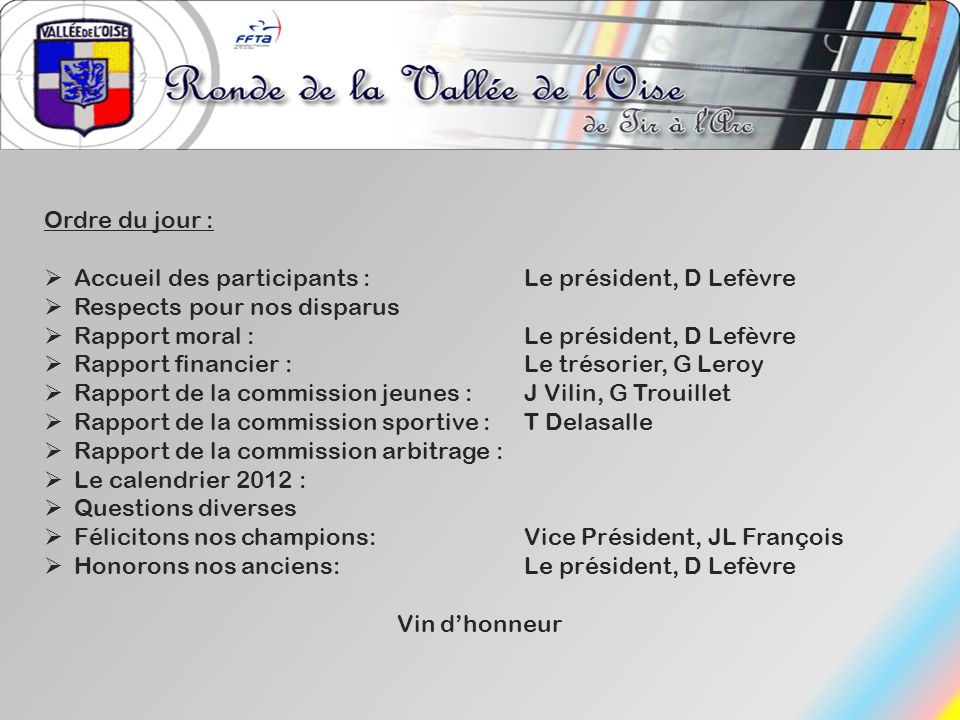 Ordre du jour : Accueil des participants : Le président, D Lefèvre. Respects pour nos disparus. Rapport moral : Le président, D Lefèvre.