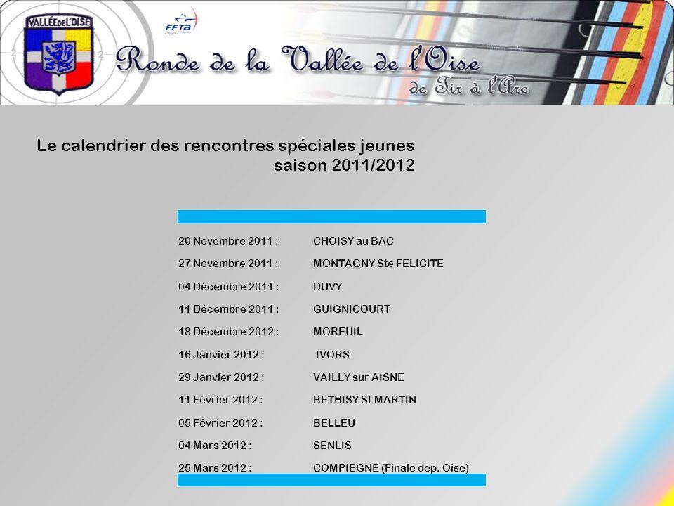 Le calendrier des rencontres spéciales jeunes saison 2011/2012