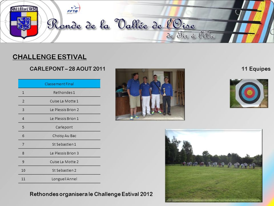 CHALLENGE ESTIVAL CARLEPONT – 28 AOUT 2011 11 Equipes
