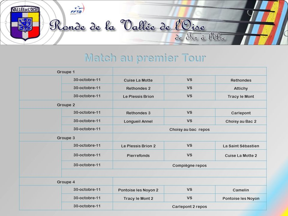Match au premier Tour Groupe 1 30-octobre-11 Cuise La Motte VS