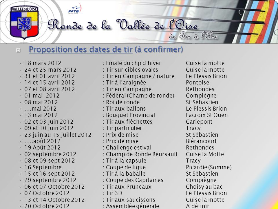 Proposition des dates de tir (à confirmer)