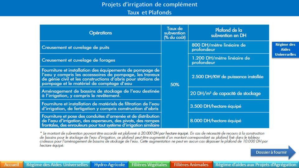Projets d'irrigation de complément Régime des Aides Universelles