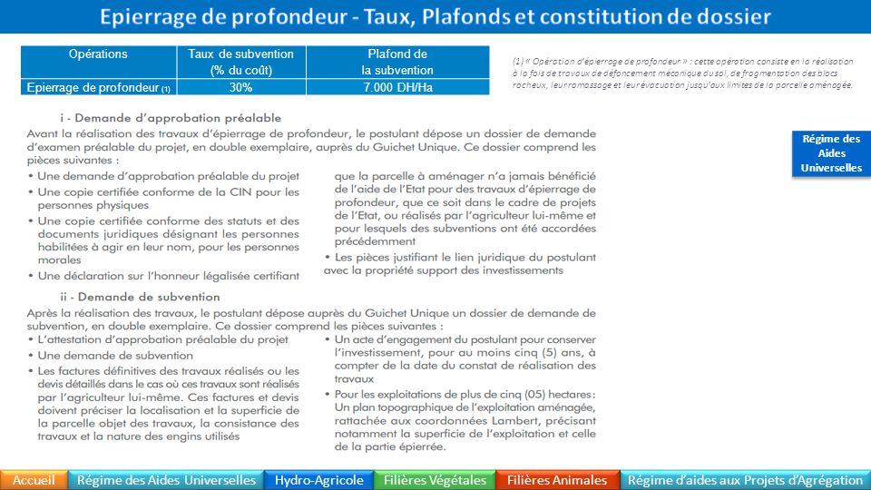 Epierrage de profondeur - Taux, Plafonds et constitution de dossier