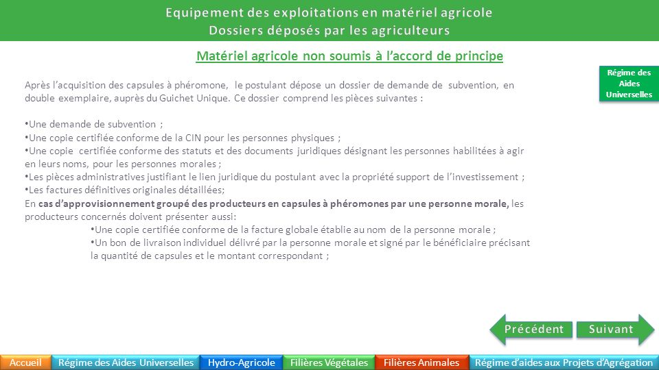 Equipement des exploitations en matériel agricole