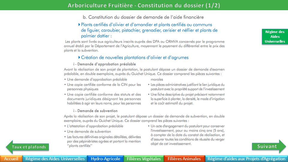 Arboriculture Fruitière - Constitution du dossier (1/2)