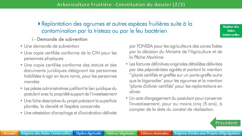 Arboriculture Fruitière - Constitution du dossier (2/2)