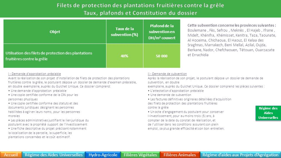 Filets de protection des plantations fruitières contre la grêle