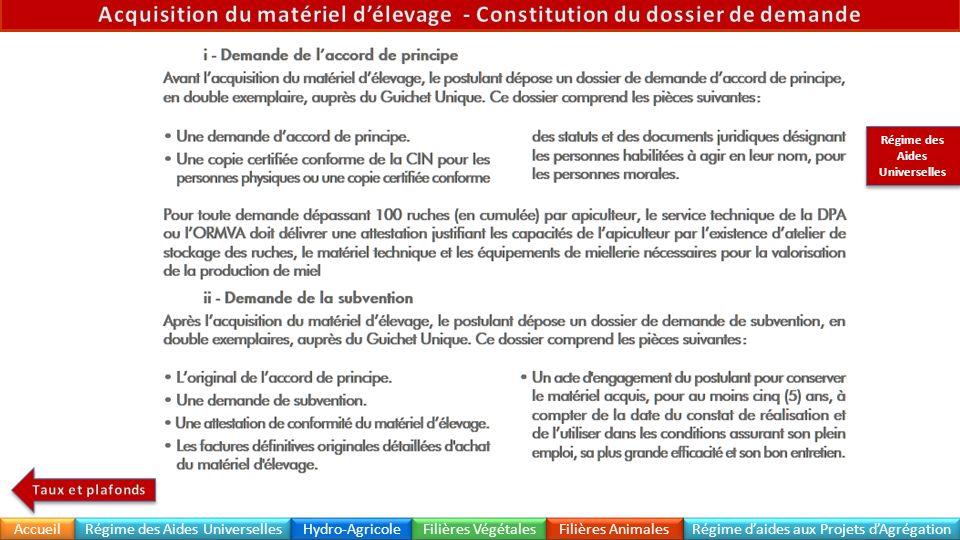 Acquisition du matériel d'élevage - Constitution du dossier de demande