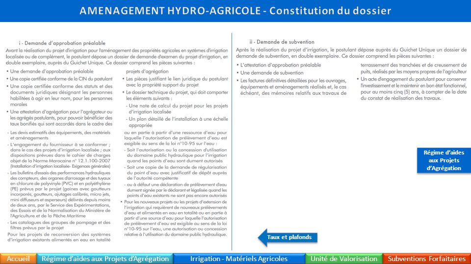 AMENAGEMENT HYDRO-AGRICOLE - Constitution du dossier