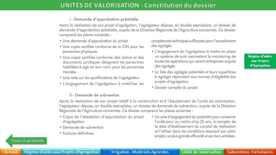 UNITES DE VALORISATION - Constitution du dossier
