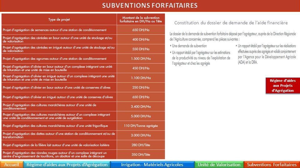 SUBVENTIONS FORFAITAIRES Régime d'aides aux Projets d'Agrégation