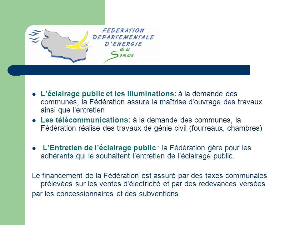 L'éclairage public et les illuminations: à la demande des communes, la Fédération assure la maîtrise d'ouvrage des travaux ainsi que l'entretien