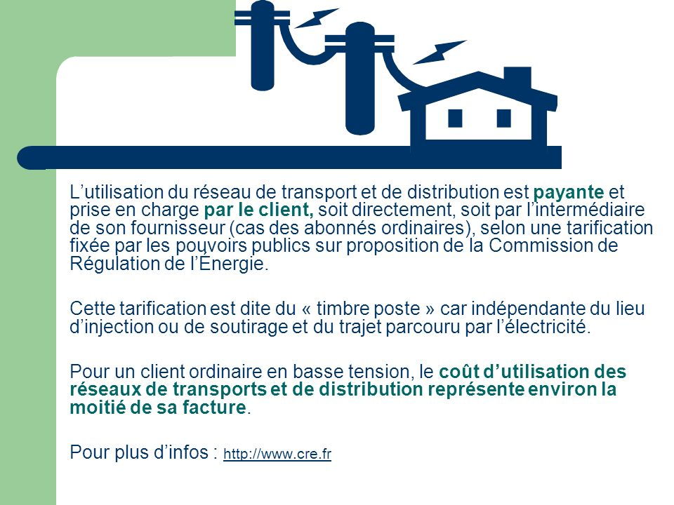 L'utilisation du réseau de transport et de distribution est payante et prise en charge par le client, soit directement, soit par l'intermédiaire de son fournisseur (cas des abonnés ordinaires), selon une tarification fixée par les pouvoirs publics sur proposition de la Commission de Régulation de l'Énergie.