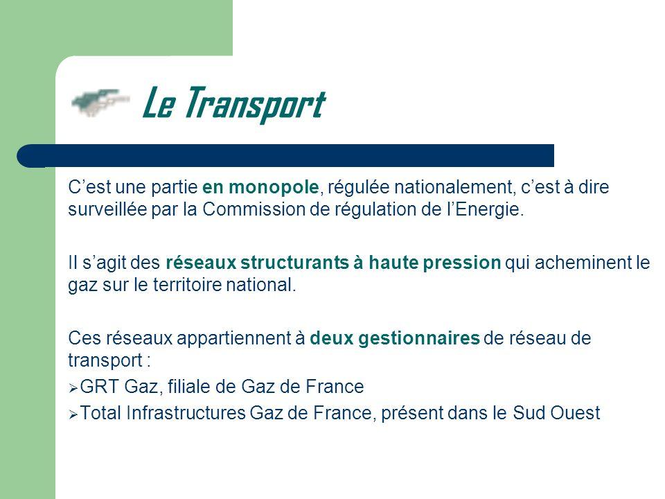 Le Transport C'est une partie en monopole, régulée nationalement, c'est à dire surveillée par la Commission de régulation de l'Energie.