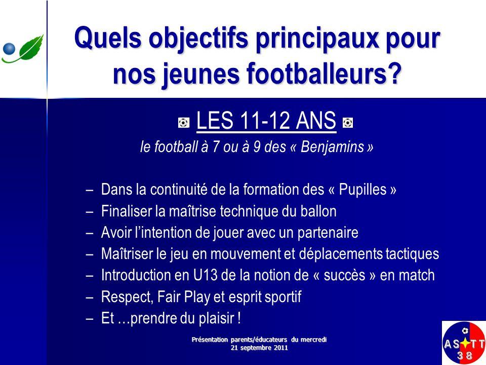 Quels objectifs principaux pour nos jeunes footballeurs