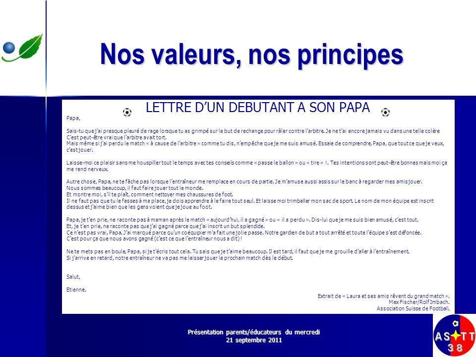 Nos valeurs, nos principes