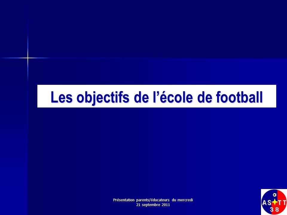 Les objectifs de l'école de football