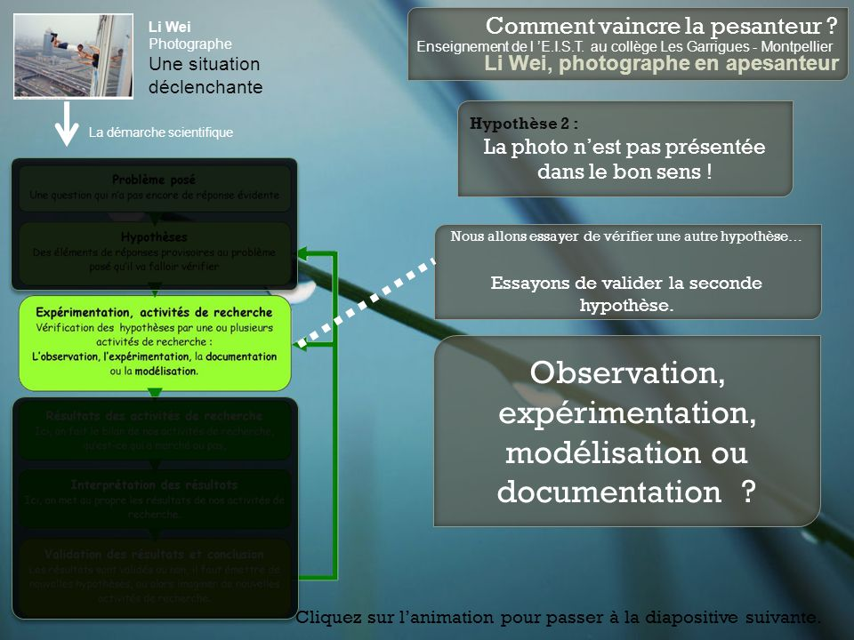 Observation, expérimentation, modélisation ou documentation
